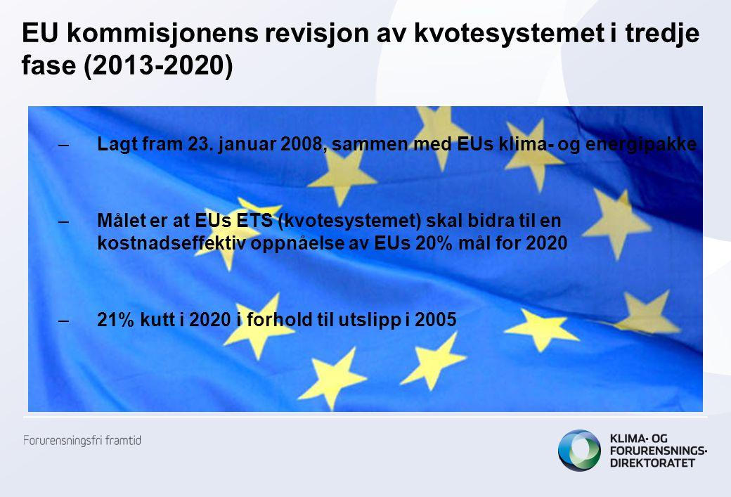 •Faktor som bestemmes av kommisjonen på bakgrunn av oversikten over tildeling til den enkelte virksomhet i hele EU27 (+) •Dersom tildelt mengde overgår taket vil korreksjonsfaktoren settes til lavere enn 1 •Faktoren kan variere fra år til år i perioden 2013-2020.