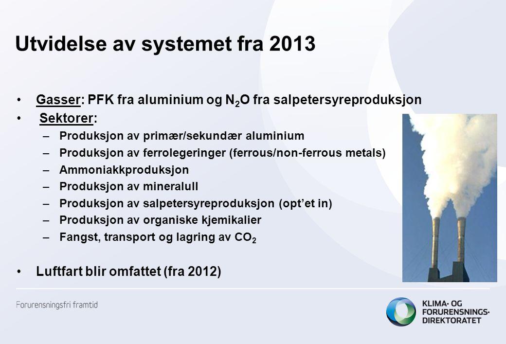 Utvidelse av systemet fra 2013 •Gasser: PFK fra aluminium og N 2 O fra salpetersyreproduksjon • Sektorer: –Produksjon av primær/sekundær aluminium –Produksjon av ferrolegeringer (ferrous/non-ferrous metals) –Ammoniakkproduksjon –Produksjon av mineralull –Produksjon av salpetersyreproduksjon (opt'et in) –Produksjon av organiske kjemikalier –Fangst, transport og lagring av CO 2 •Luftfart blir omfattet (fra 2012)