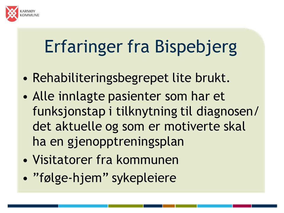 Erfaringer fra Bispebjerg •Rehabiliteringsbegrepet lite brukt. •Alle innlagte pasienter som har et funksjonstap i tilknytning til diagnosen/ det aktue