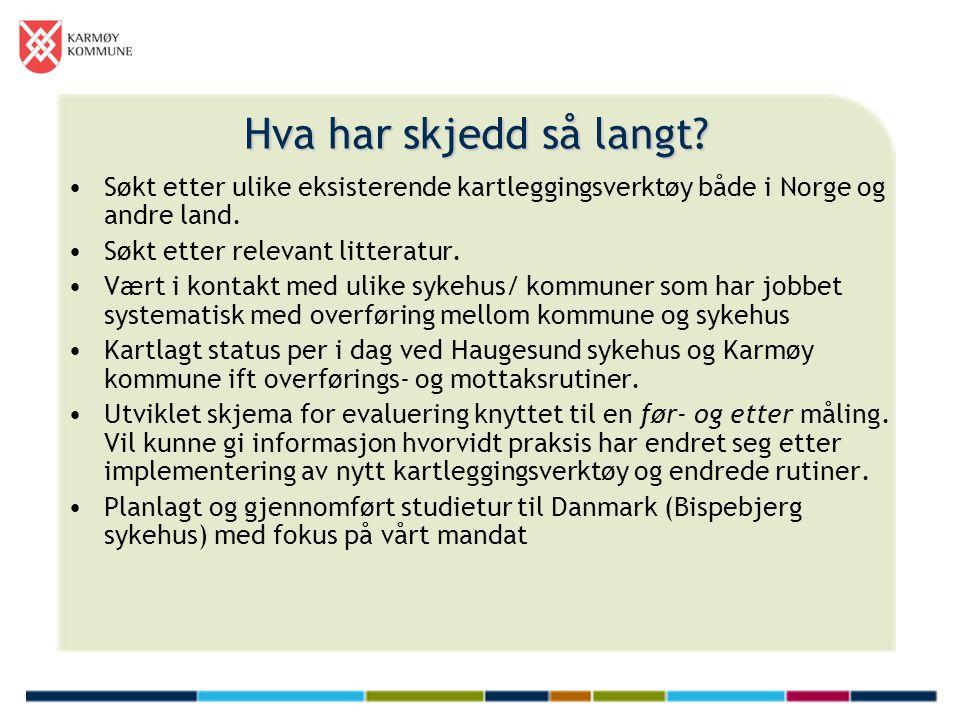 Hva har skjedd så langt? •Søkt etter ulike eksisterende kartleggingsverktøy både i Norge og andre land. •Søkt etter relevant litteratur. •Vært i konta