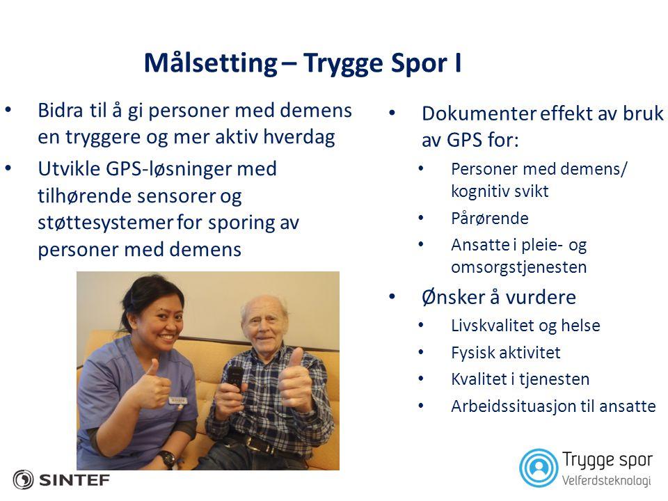 Målsetting – Trygge Spor I • Bidra til å gi personer med demens en tryggere og mer aktiv hverdag • Utvikle GPS-løsninger med tilhørende sensorer og st