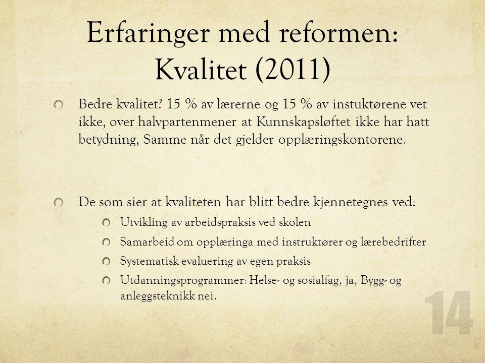 Erfaringer med reformen: Kvalitet (2011) Bedre kvalitet? 15 % av lærerne og 15 % av instuktørene vet ikke, over halvpartenmener at Kunnskapsløftet ikk