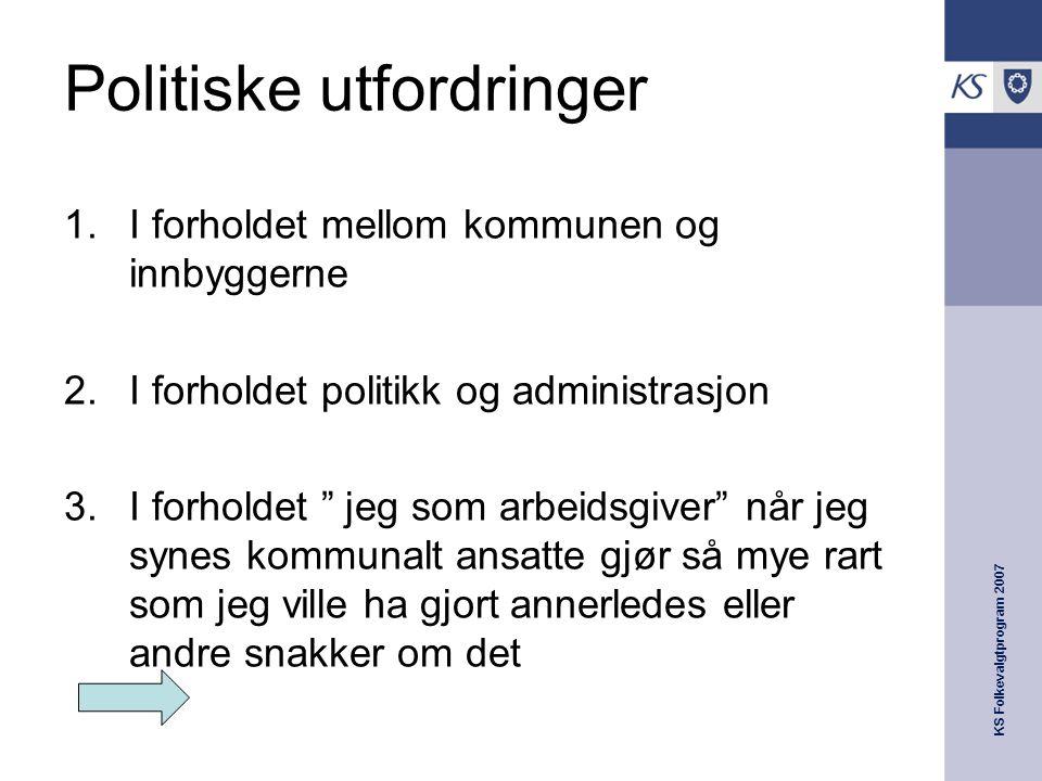 KS Folkevalgtprogram 2007 Politiske utfordringer  I forholdet mellom kommunen og innbyggerne  I forholdet politikk og administrasjon  I forholde