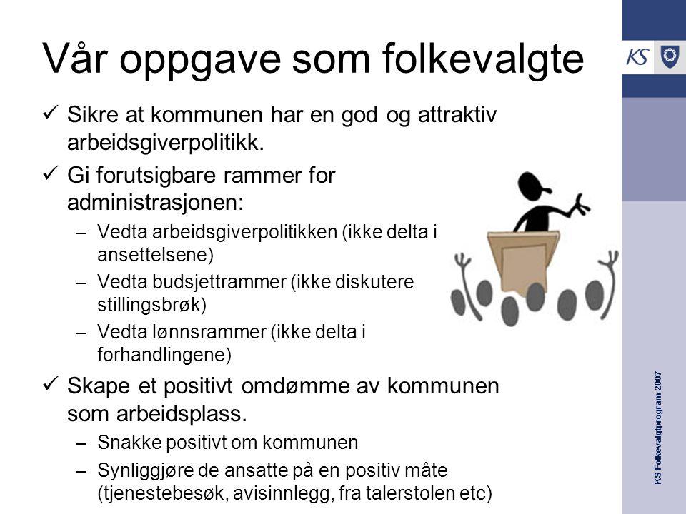 KS Folkevalgtprogram 2007 Vår oppgave som folkevalgte  Sikre at kommunen har en god og attraktiv arbeidsgiverpolitikk.