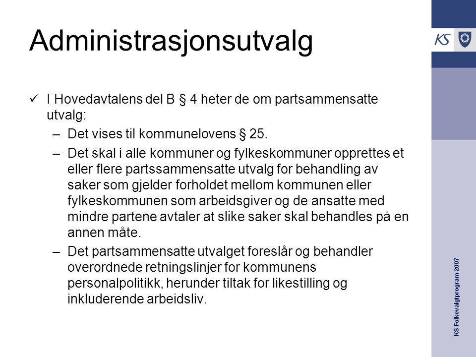 KS Folkevalgtprogram 2007 Administrasjonsutvalg  I Hovedavtalens del B § 4 heter de om partsammensatte utvalg: –Det vises til kommunelovens § 25.