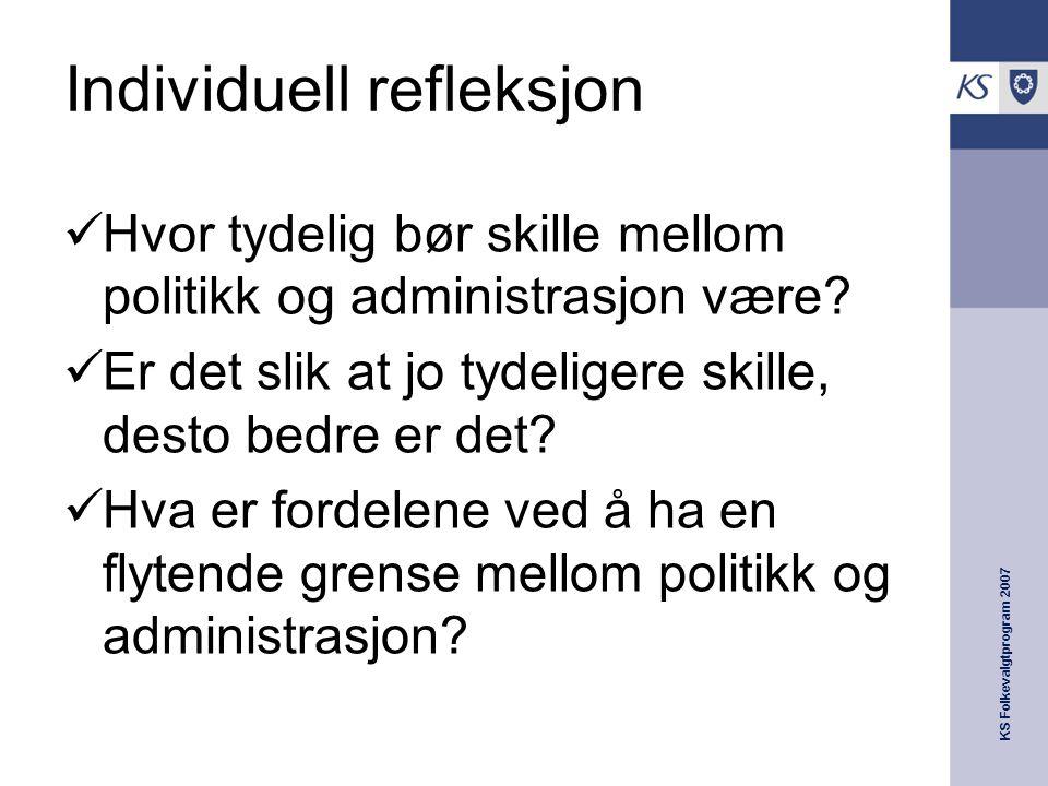 KS Folkevalgtprogram 2007 Individuell refleksjon  Hvor tydelig bør skille mellom politikk og administrasjon være.
