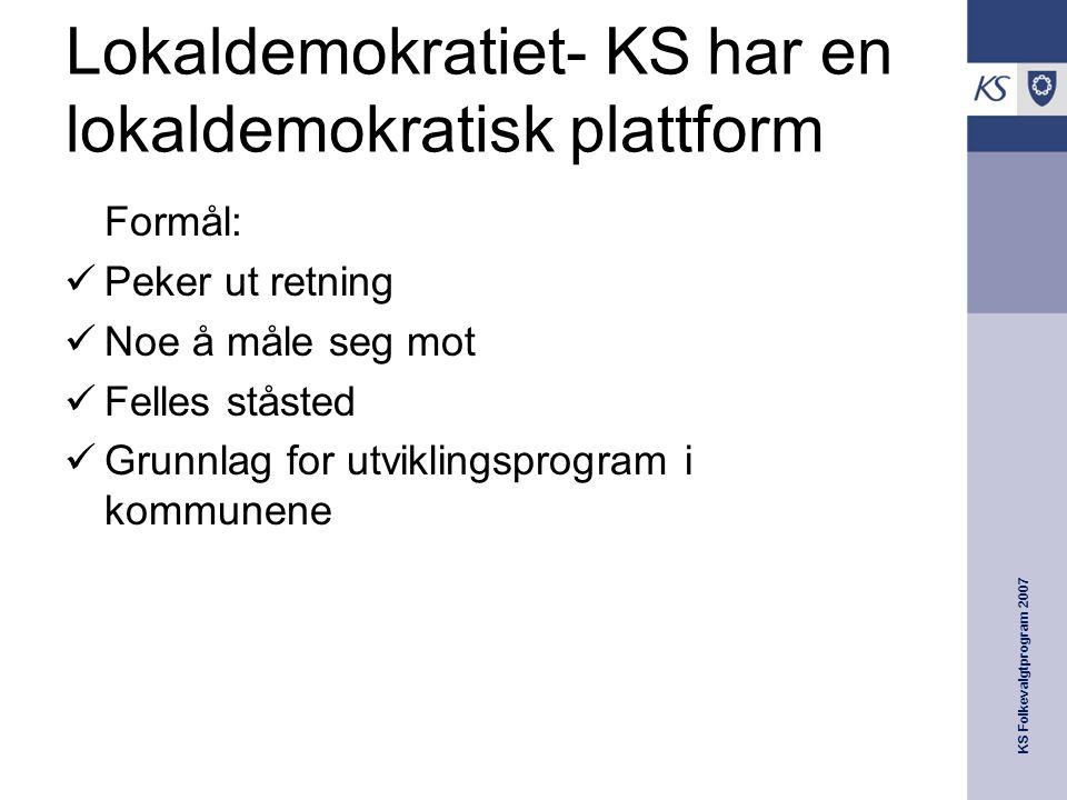 KS Folkevalgtprogram 2007 Lokaldemokratiet- KS har en lokaldemokratisk plattform Formål:  Peker ut retning  Noe å måle seg mot  Felles ståsted  Grunnlag for utviklingsprogram i kommunene