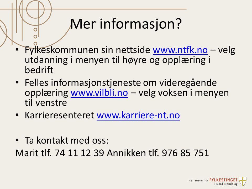 Mer informasjon? • Fylkeskommunen sin nettside www.ntfk.no – velg utdanning i menyen til høyre og opplæring i bedriftwww.ntfk.no • Felles informasjons