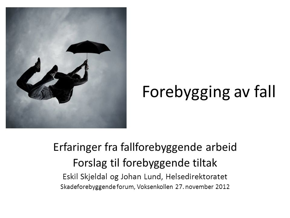 Rapport fra Hdir, høsten 2012 • I høst lager Helsedirektoratet en oppsummerende oversikt.