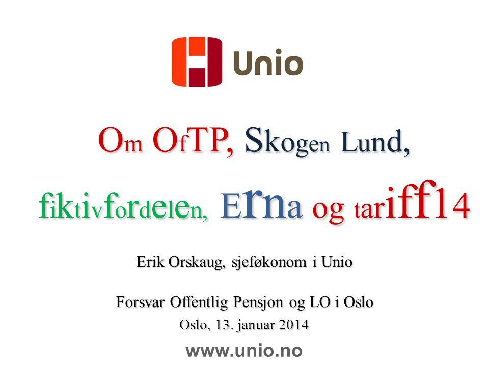 12 Minst 5 pst for å nå samme kompensasjon etter skatt som i en «66 pst-ordning» i privat TP Kilde: Unios notatserie nr 6/2013