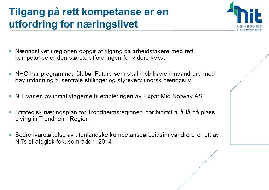 NiTs strategiske fokusområder  Kommersialisering av teknologi  Bli bedre på kommersialisering (kompetanseheving, erfaringsutveksling)  Nok kapital i alle faser  Økt grad av innovasjon og entreprenørskap i nye og eksisterende bedrifter  Tettere kobling mellom FoU/utdanning og næringsliv  Innretning på virkemiddelapparatet  Styrke Trondheim som teknologihovedstad  «Bli teknologiens svar på Davos»  Tilgang på relevant kompetanse  Relevans i utdanningen  Få flere studenter til å bli i regionen etter endte studier  Bedre ivaretagelse av utenlandske kompetansearbeidsinnvandrere