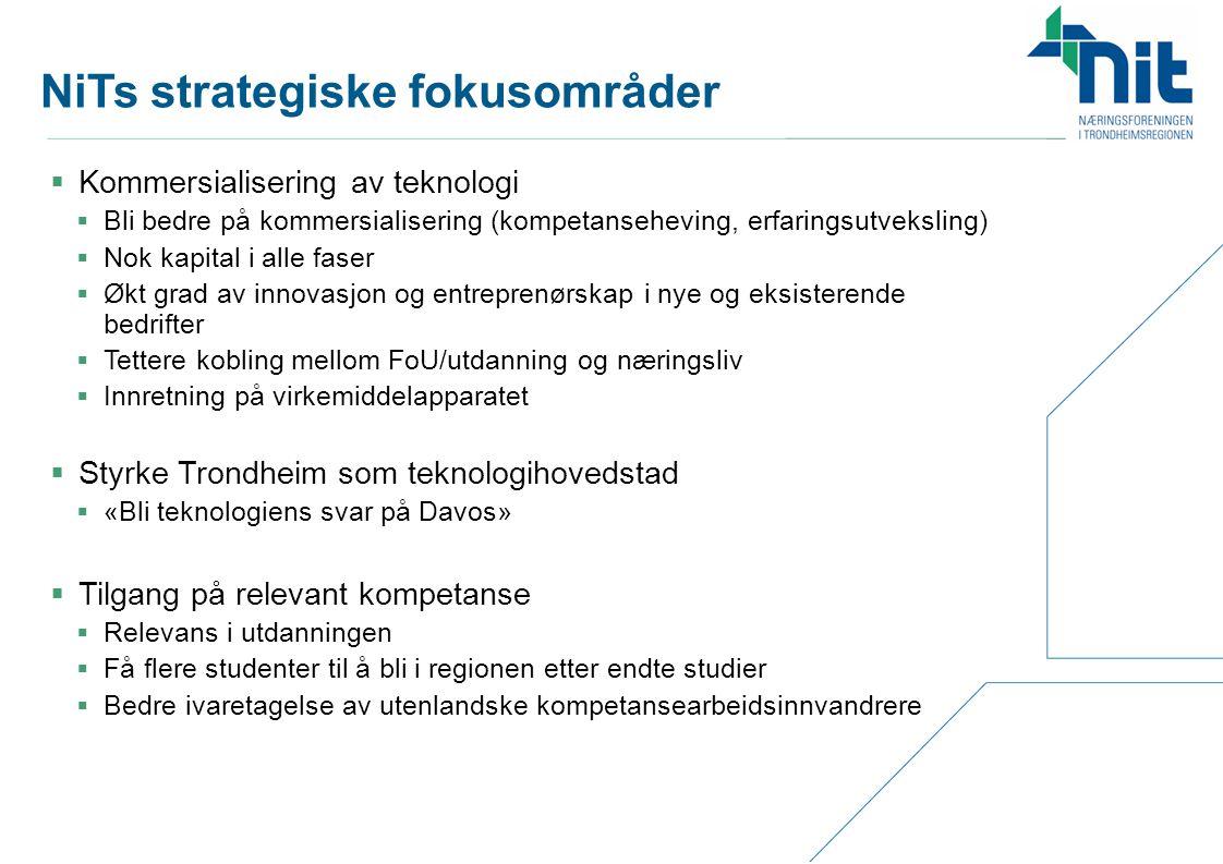 NiTs strategiske fokusområder  Kommersialisering av teknologi  Bli bedre på kommersialisering (kompetanseheving, erfaringsutveksling)  Nok kapital