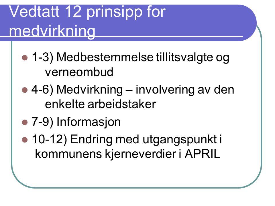 Vedtatt 12 prinsipp for medvirkning  1-3) Medbestemmelse tillitsvalgte og verneombud  4-6) Medvirkning – involvering av den enkelte arbeidstaker  7