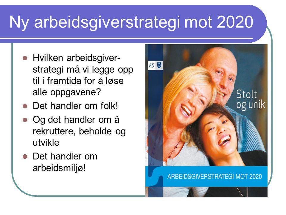 Ny arbeidsgiverstrategi mot 2020  Hvilken arbeidsgiver- strategi må vi legge opp til i framtida for å løse alle oppgavene.