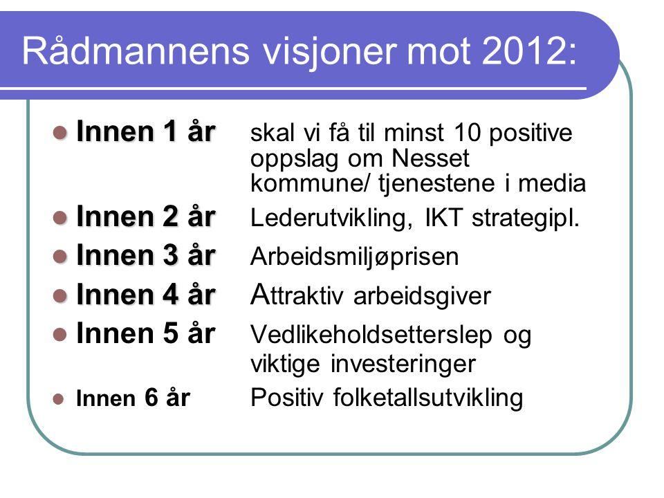  Innen 1 år  Innen 1 år skal vi få til minst 10 positive oppslag om Nesset kommune/ tjenestene i media  Innen 2 år  Innen 2 år Lederutvikling, IKT