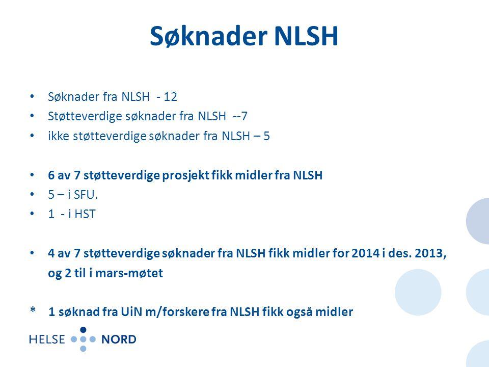 Søknader NLSH • Søknader fra NLSH - 12 • Støtteverdige søknader fra NLSH --7 • ikke støtteverdige søknader fra NLSH – 5 • 6 av 7 støtteverdige prosjekt fikk midler fra NLSH • 5 – i SFU.