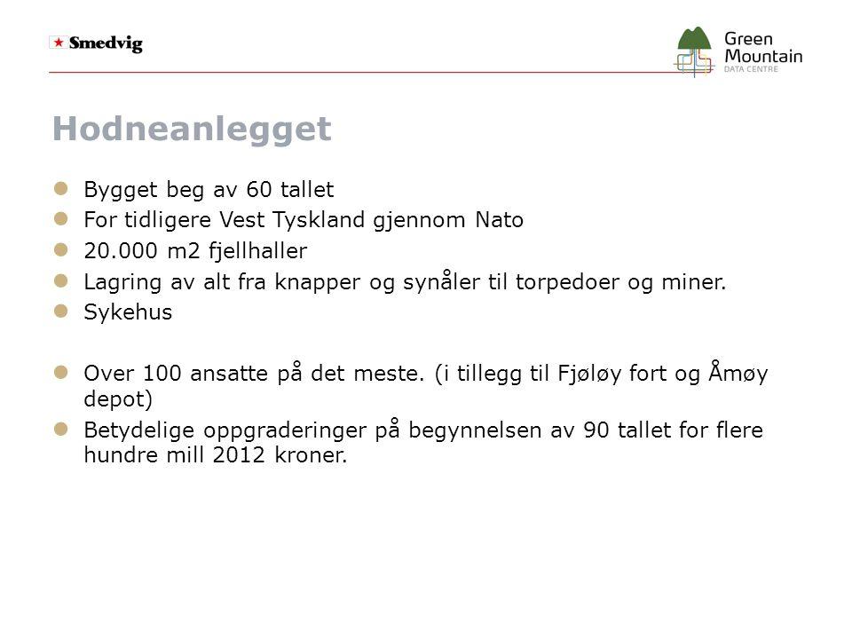 Hodneanlegget ● Bygget beg av 60 tallet ● For tidligere Vest Tyskland gjennom Nato ● 20.000 m2 fjellhaller ● Lagring av alt fra knapper og synåler til torpedoer og miner.