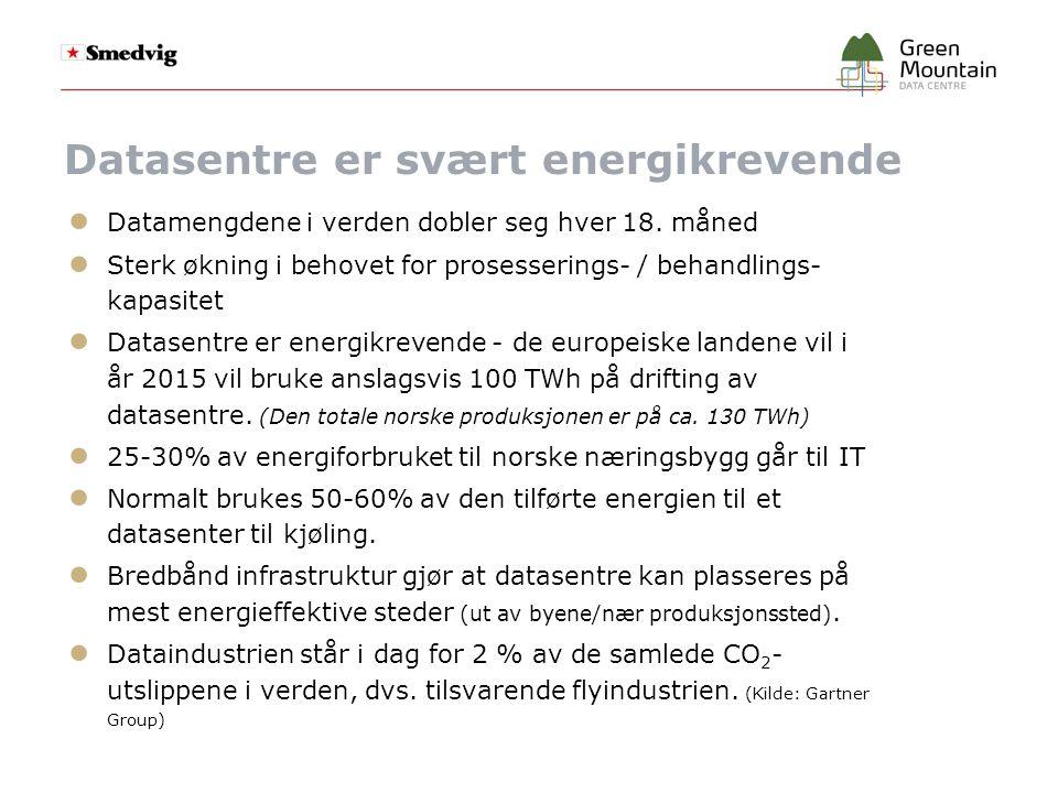 Grønn IT – ● Et datasenter kan sies å være grønt når:  Energieffektiviteten er høy, og  Senteret anvender fornybar energi ● Hva er avgjørende for energieffektivitet:  Kort avstand fra energikilde – dvs.