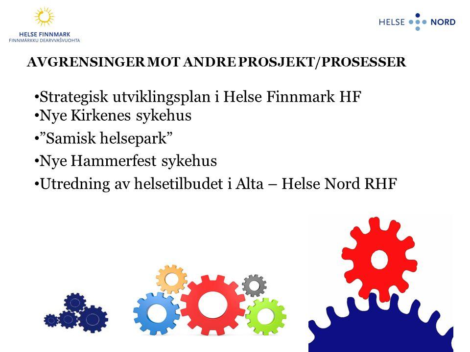 10 AVGRENSINGER MOT ANDRE PROSJEKT/PROSESSER • Strategisk utviklingsplan i Helse Finnmark HF • Nye Kirkenes sykehus • Samisk helsepark • Nye Hammerfest sykehus • Utredning av helsetilbudet i Alta – Helse Nord RHF