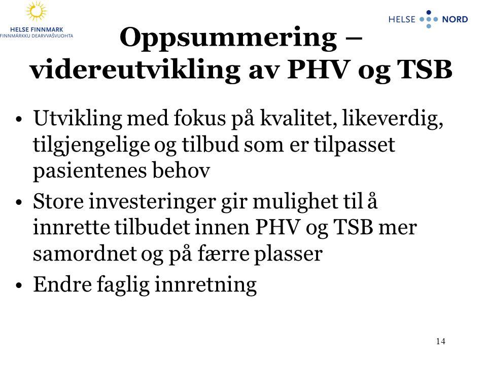 Oppsummering – videreutvikling av PHV og TSB •Utvikling med fokus på kvalitet, likeverdig, tilgjengelige og tilbud som er tilpasset pasientenes behov