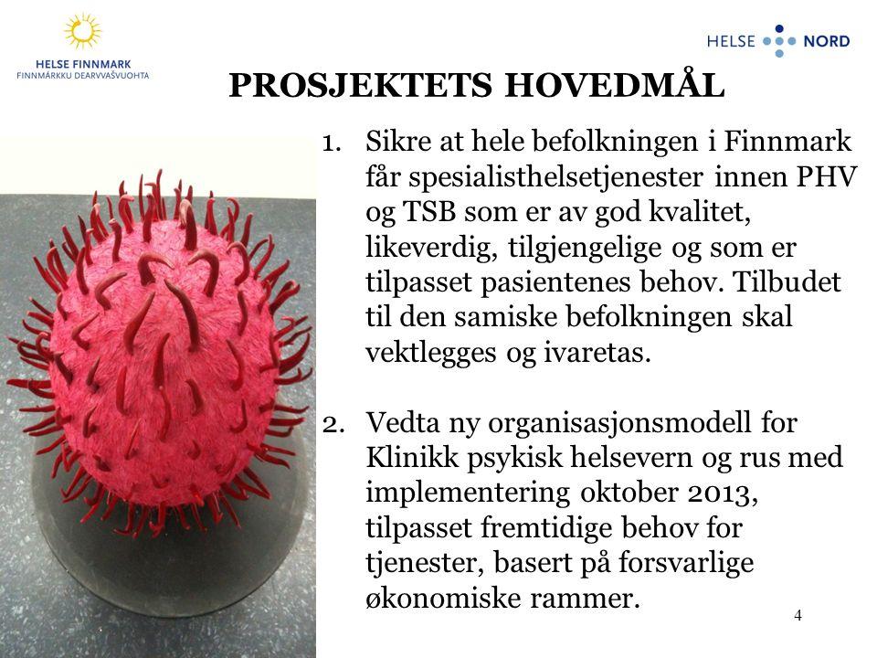 4 1.Sikre at hele befolkningen i Finnmark får spesialisthelsetjenester innen PHV og TSB som er av god kvalitet, likeverdig, tilgjengelige og som er tilpasset pasientenes behov.
