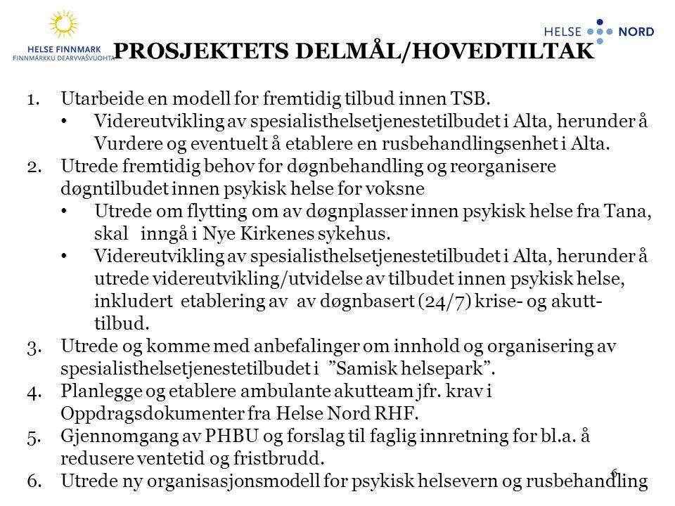 6 PROSJEKTETS DELMÅL/HOVEDTILTAK 1.Utarbeide en modell for fremtidig tilbud innen TSB. • Videreutvikling av spesialisthelsetjenestetilbudet i Alta, he