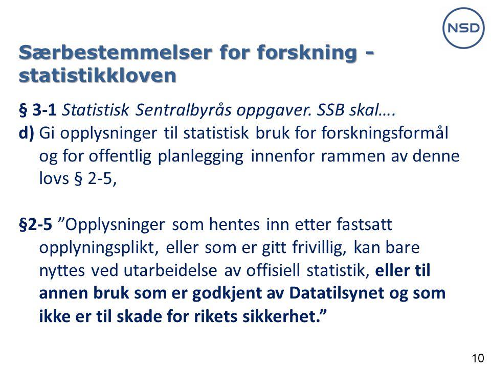 10 Særbestemmelser for forskning - statistikkloven § 3-1 Statistisk Sentralbyrås oppgaver.