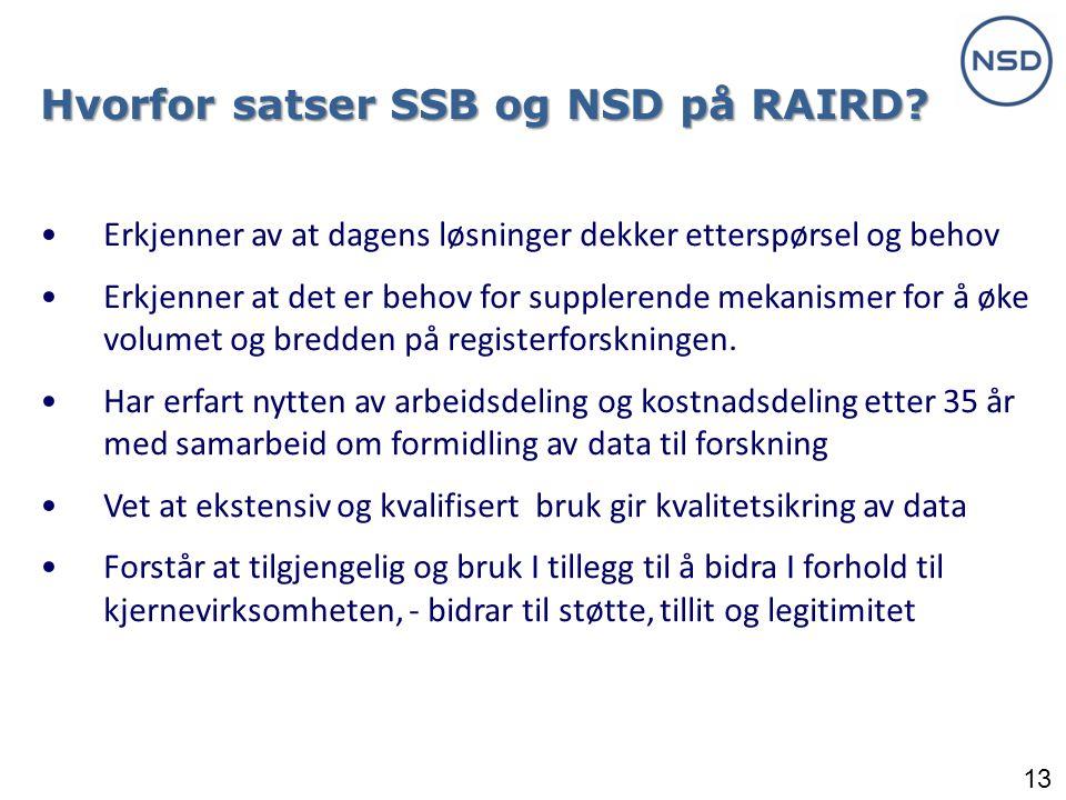 13 Hvorfor satser SSB og NSD på RAIRD.