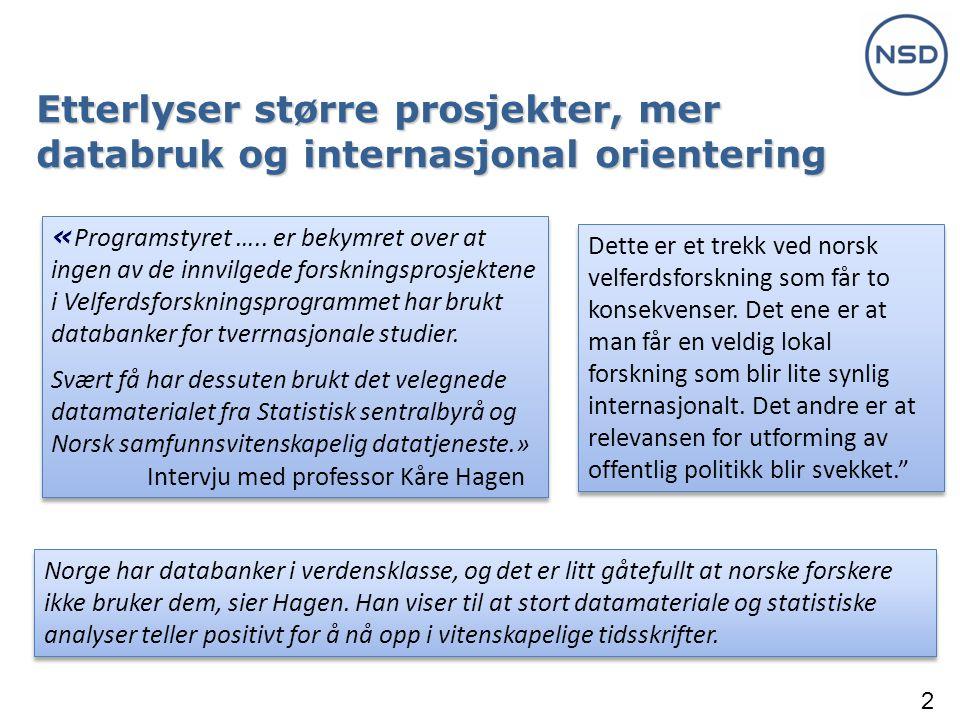 2 Etterlyser større prosjekter, mer databruk og internasjonal orientering « Programstyret …..