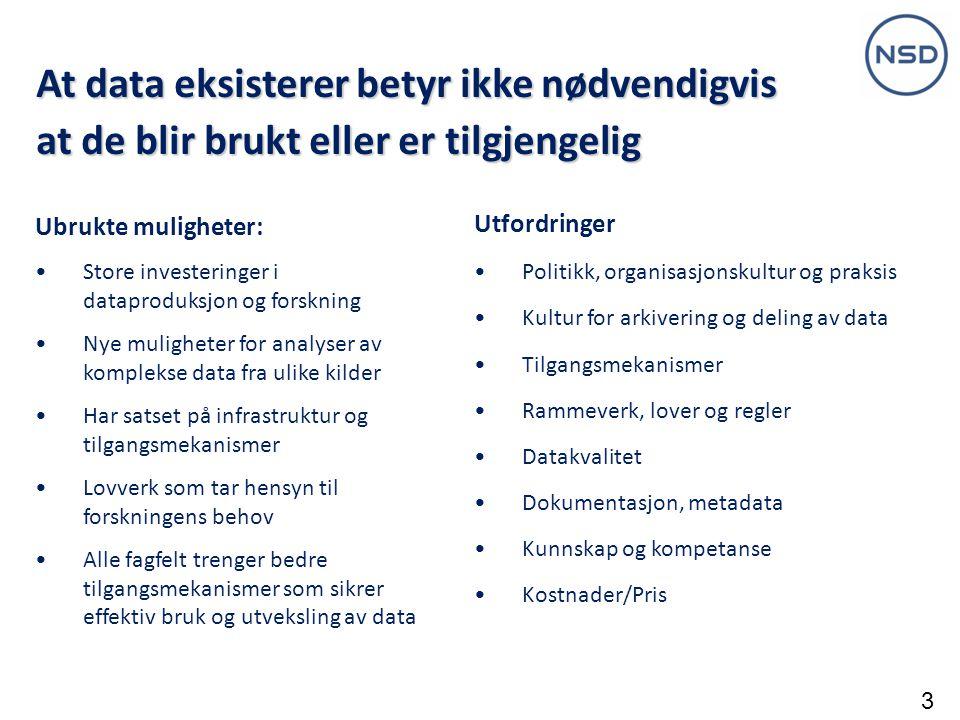 Data Service Infrastructure for the Social Sciences and Humanities EU-initiativ basert på fem forskningsinfrastrukturer- alle på ESFRIs veikart Utvikle felles løsninger for felles problemer for: CESSDA CLARIN DARIAH ESS SHARE NSD skal, som et sentralt medlem av ESS og CESSDA, spesielt arbeide med: Spørsmålsdatabase og tilhørende verktøy Dataarkivering Juridiske og etiske retningslinjer Startet i januar 2012 Internasjonal utvikling