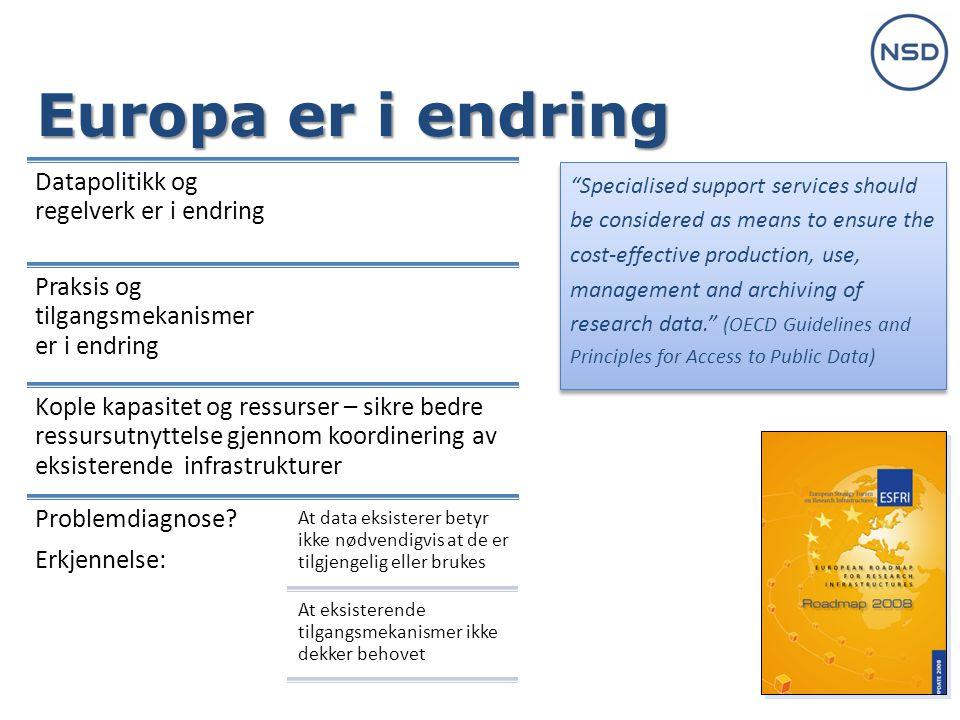 Europa er i endring Datapolitikk og regelverk er i endring Praksis og tilgangsmekanismer er i endring Kople kapasitet og ressurser – sikre bedre ressursutnyttelse gjennom koordinering av eksisterende infrastrukturer Problemdiagnose.