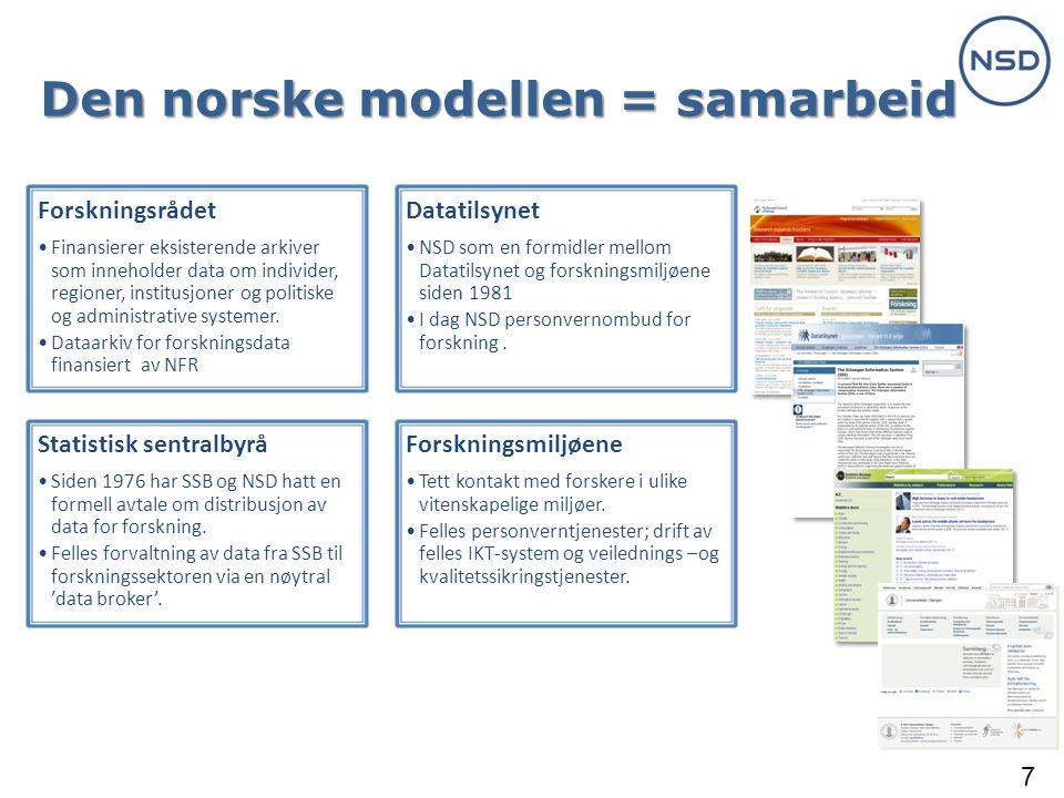 7 Den norske modellen = samarbeid Forskningsrådet •Finansierer eksisterende arkiver som inneholder data om individer, regioner, institusjoner og politiske og administrative systemer.