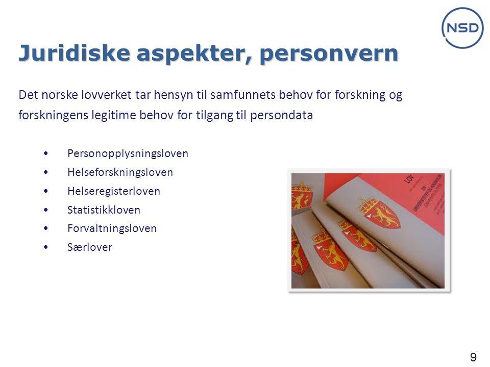 9 Juridiske aspekter, personvern Det norske lovverket tar hensyn til samfunnets behov for forskning og forskningens legitime behov for tilgang til persondata • Personopplysningsloven • Helseforskningsloven • Helseregisterloven • Statistikkloven • Forvaltningsloven • Særlover