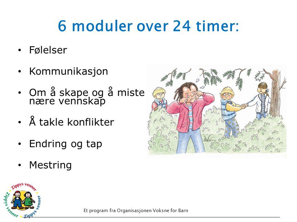 6 moduler over 24 timer: • Følelser • Kommunikasjon • Om å skape og å miste nære vennskap • Å takle konflikter • Endring og tap • Mestring Et program