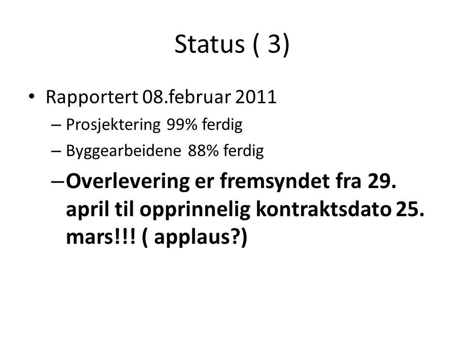 Status ( 3) • Rapportert 08.februar 2011 – Prosjektering 99% ferdig – Byggearbeidene 88% ferdig – Overlevering er fremsyndet fra 29. april til opprinn