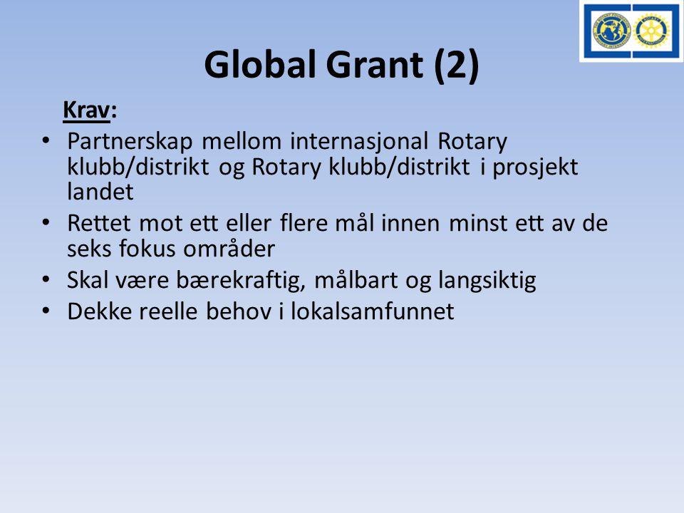 Global Grant (2) Krav: • Partnerskap mellom internasjonal Rotary klubb/distrikt og Rotary klubb/distrikt i prosjekt landet • Rettet mot ett eller fler