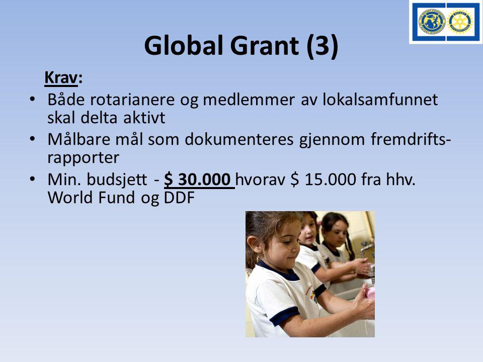 Global Grant (3) Krav: • Både rotarianere og medlemmer av lokalsamfunnet skal delta aktivt • Målbare mål som dokumenteres gjennom fremdrifts- rapporte