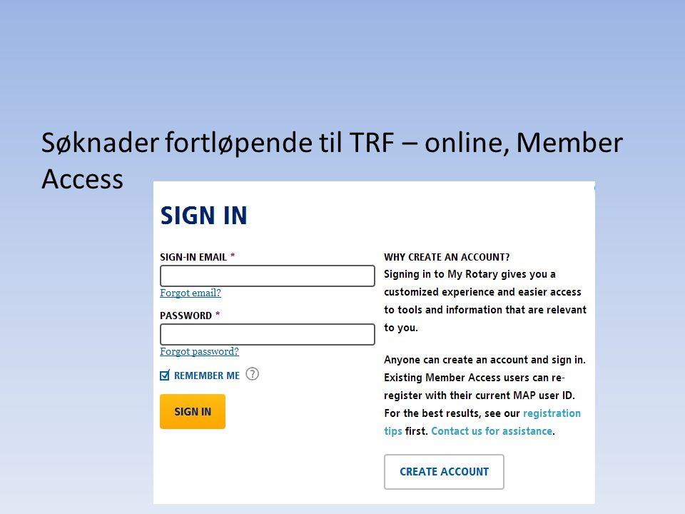 Søknader fortløpende til TRF – online, Member Access
