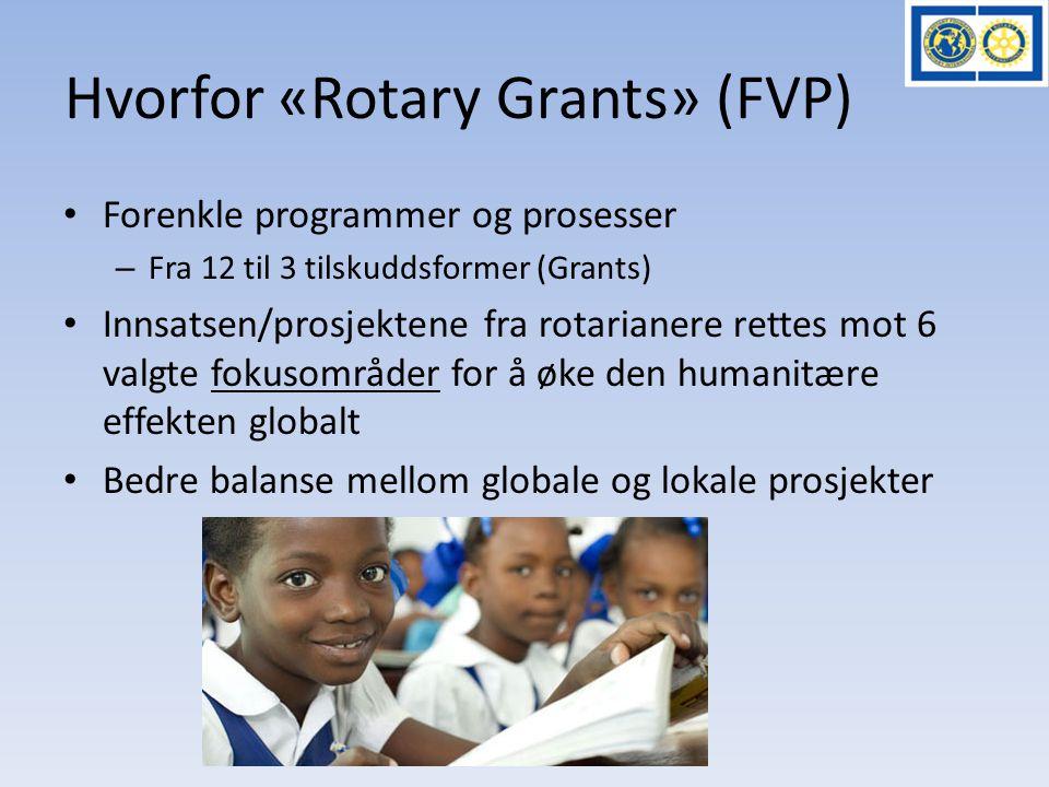 Hvorfor «Rotary Grants» (FVP) • Forenkle programmer og prosesser – Fra 12 til 3 tilskuddsformer (Grants) • Innsatsen/prosjektene fra rotarianere rette