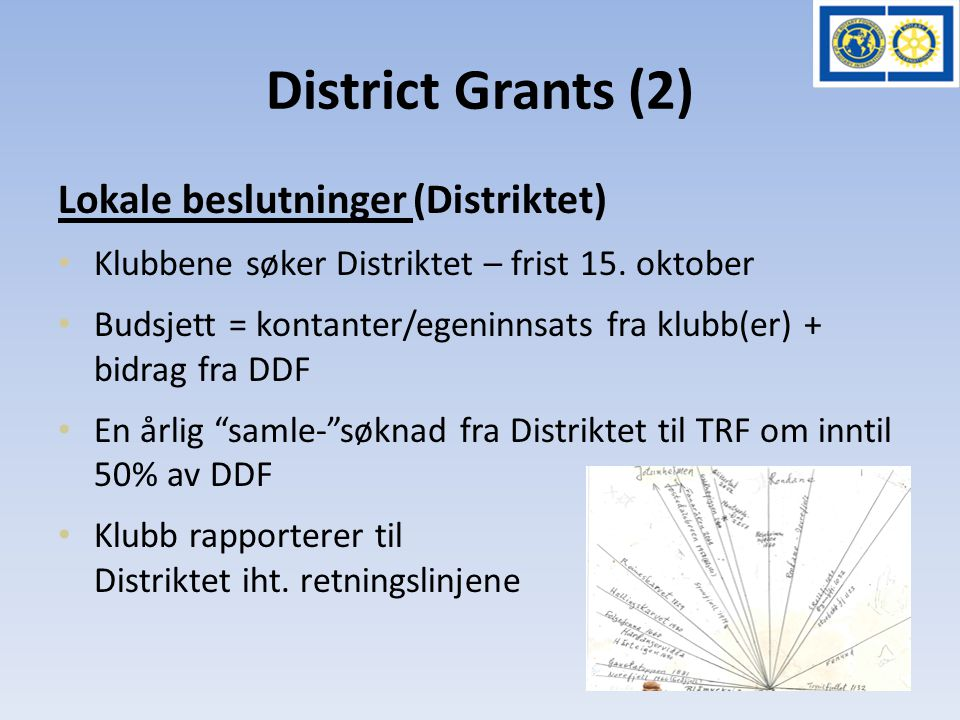District Grants (2) Lokale beslutninger (Distriktet) • Klubbene søker Distriktet – frist 15.