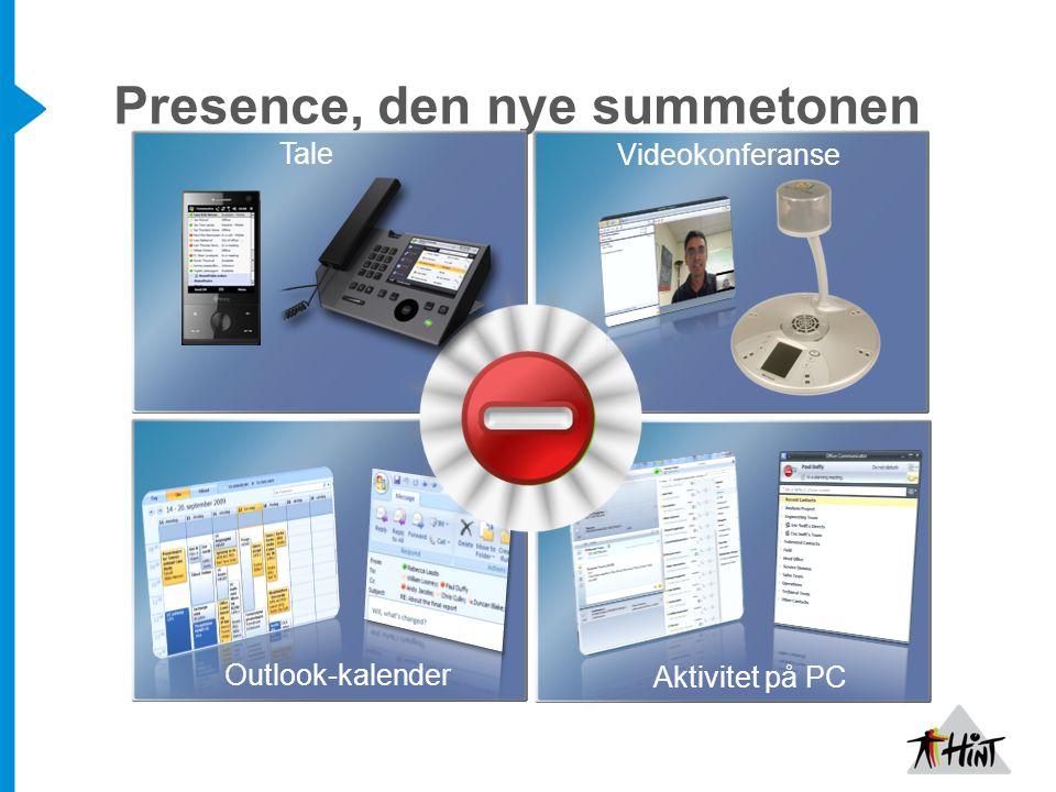 Presence, den nye summetonen Aktivitet på PC Outlook-kalender Videokonferanse Tale