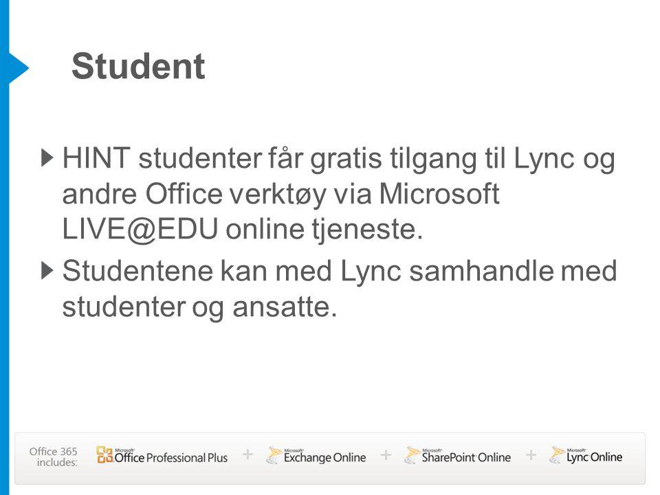 HINT studenter får gratis tilgang til Lync og andre Office verktøy via Microsoft LIVE@EDU online tjeneste. Studentene kan med Lync samhandle med stude