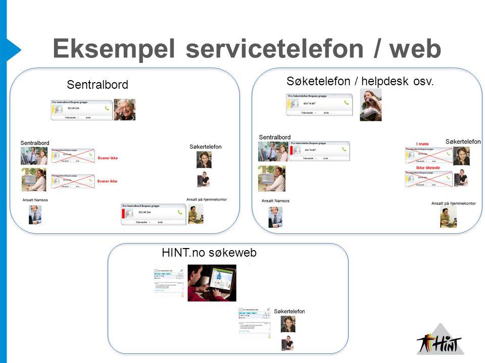 Eksempel servicetelefon / web Sentralbord Søketelefon / helpdesk osv. HINT.no søkeweb