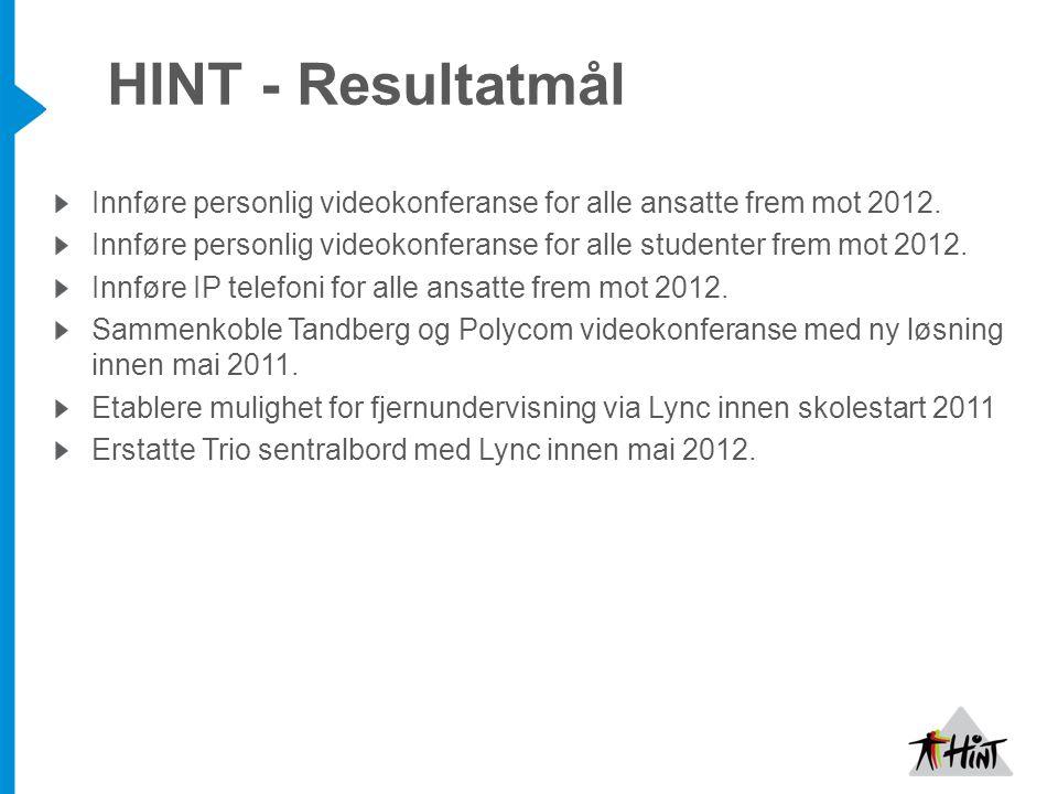 Innføre personlig videokonferanse for alle ansatte frem mot 2012. Innføre personlig videokonferanse for alle studenter frem mot 2012. Innføre IP telef