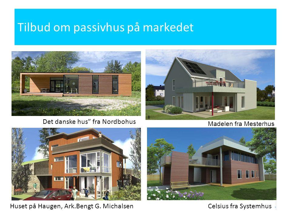 Tilbud om passivhus på markedet Madelen fra Mesterhus Celsius fra Systemhus Det danske hus fra Nordbohus Huset på Haugen, Ark.Bengt G.