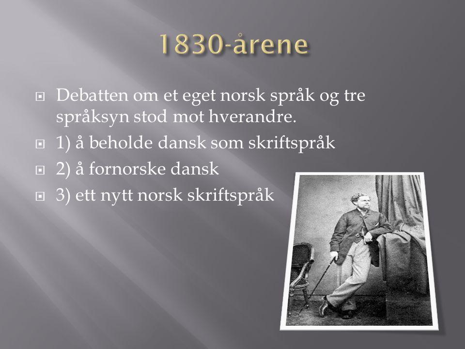  Debatten om et eget norsk språk og tre språksyn stod mot hverandre.