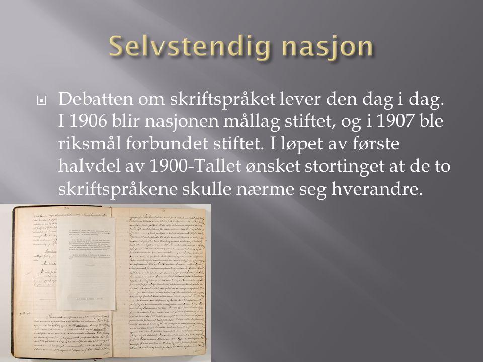  Debatten om skriftspråket lever den dag i dag.