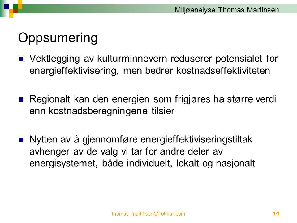 Miljøanalyse Thomas Martinsen Oppsumering  Vektlegging av kulturminnevern reduserer potensialet for energieffektivisering, men bedrer kostnadseffekti
