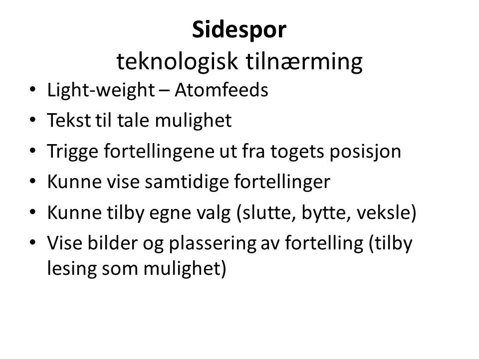 Sidespor Kilder • Kultur- og naturdata fra Norvegiana, Wikipedia med flere • «Ruteinfo» om linjestrekning og togets posisjon i «sanntid» • Kart fra Kartverket • Stedsnavns- informasjon