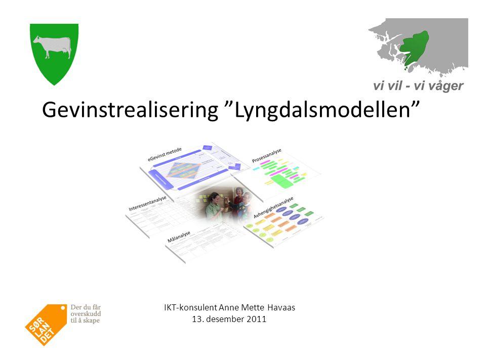 IKT-konsulent Anne Mette Havaas 13. desember 2011 Gevinstrealisering Lyngdalsmodellen